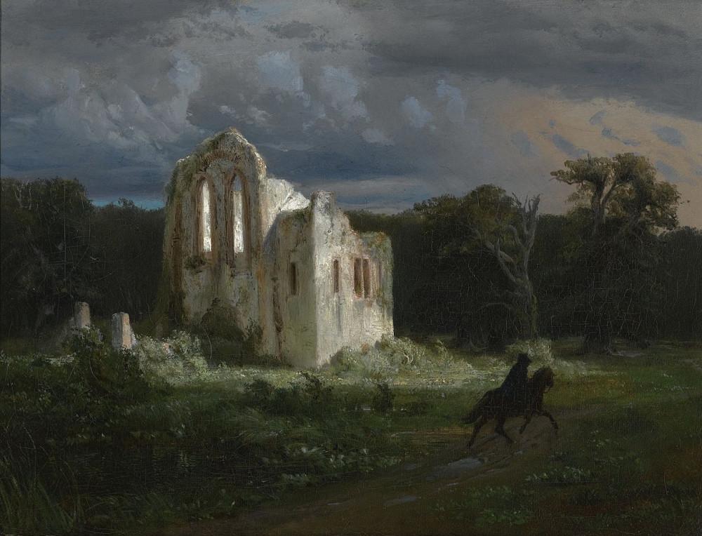 Arnold Böcklin - Mondscheinlandschaft mit Ruine