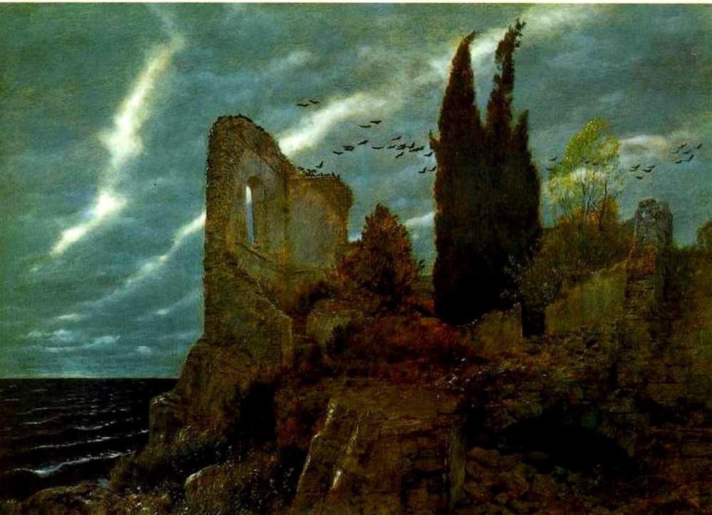 Arnold Böcklin (1827-1902); Ruins by the Sea, 1880