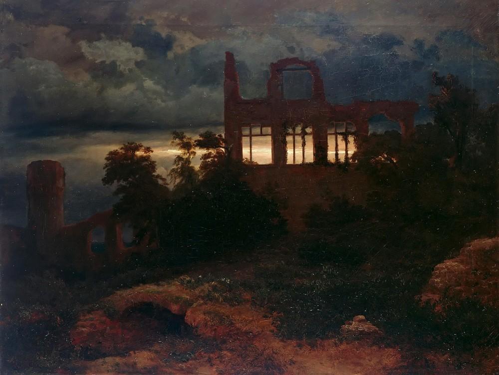 Landscape with castle ruins - Arnold Böcklin