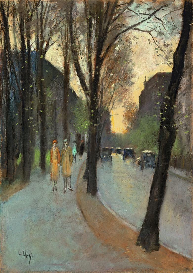 Berliner Straße im Vorfrühling, 1920er Jahre. Pastell