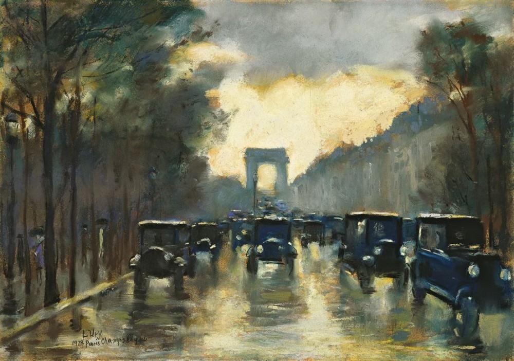 Champs-Elysées mit Arc de Triomphe, Paris, 1928, Pastell