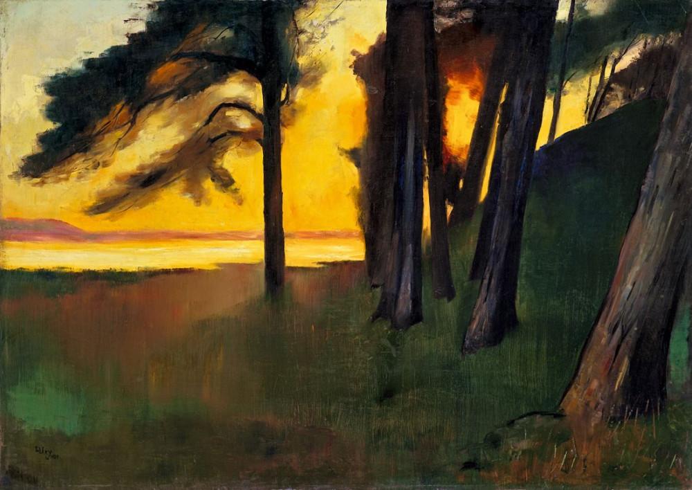 Abend an einem See mit Kiefernwald , 1909