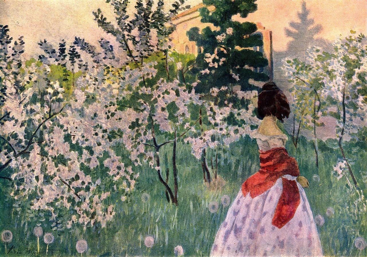 Виктор Борисов-Мусатов - Весна. 1898—1901. Холст, масло. 71 × 98 см.  Государственный Русский музей, Санкт-Петербург