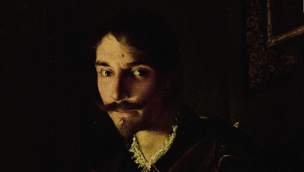 PIETRO PAOLINI (Lucca 1603 - 1681) - A PORTRAIT OF A MAN WRITING BY CANDLELIGHT. Detail