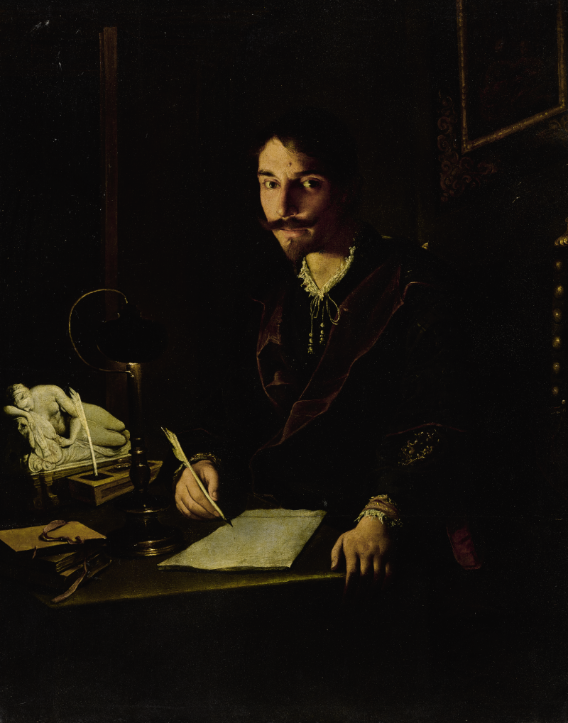 PIETRO PAOLINI (Lucca 1603 - 1681) - A PORTRAIT OF A MAN WRITING BY CANDLELIGHT