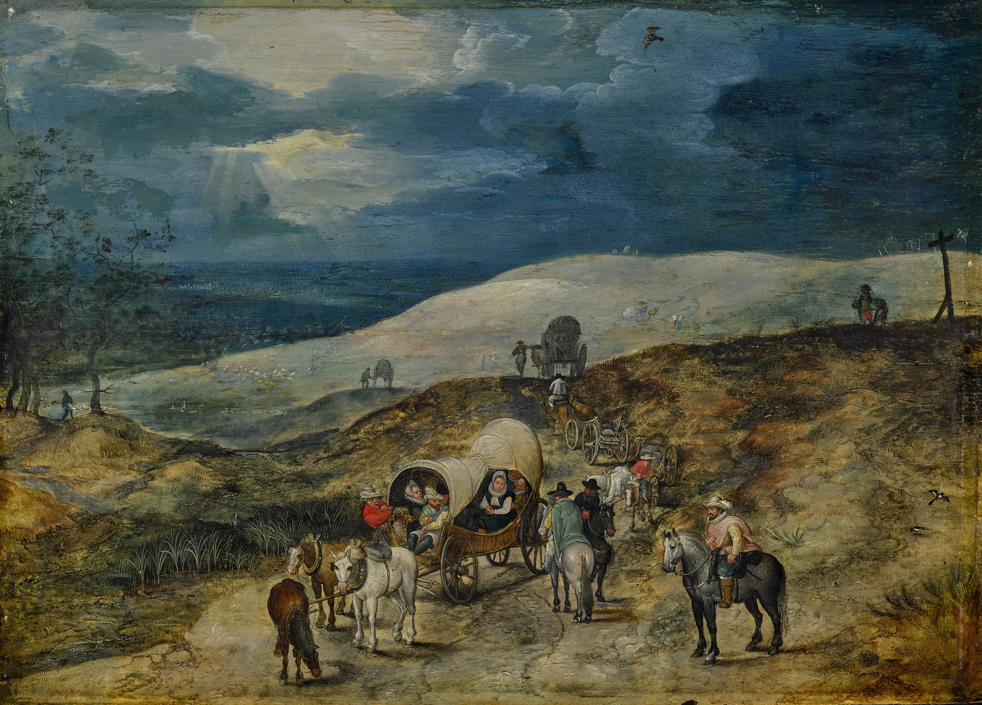 ATTRIBUTED TO JAN BREUGHEL THE YOUNGER (Antwerp 1601 - 1678) -  A LANDSCAPE WITH TRAVELERS BEING ROBBED