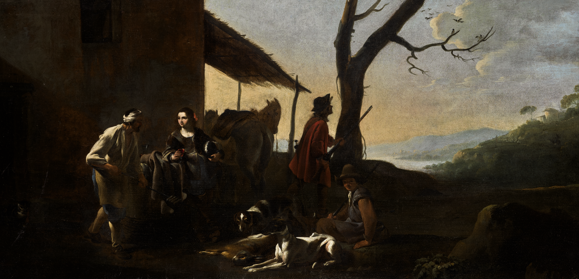 MICHAEL SWEERTS (Brussels 1618 - 1664 Goa) -  A HUNTING PARTY RESTING BY AN INN