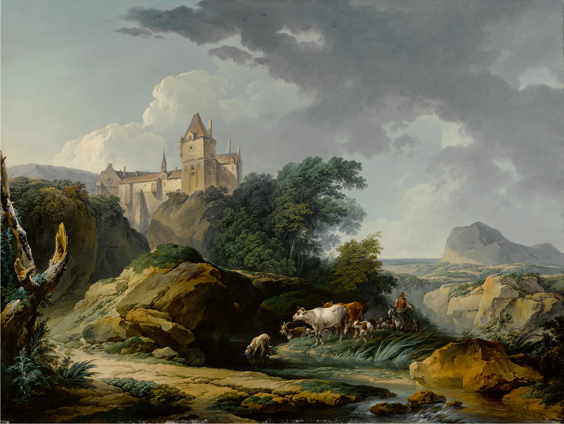 PHILIPPE JACQUES DE LOUTHERBOURG, R.A. (Strasbourg 1740 - 1812 London) -  LANDSCAPE WITH A HERD OF CATTLE, A CASTLE ON A HILL BEYOND, KNOWN AS  MORNING AFTER THE RAIN