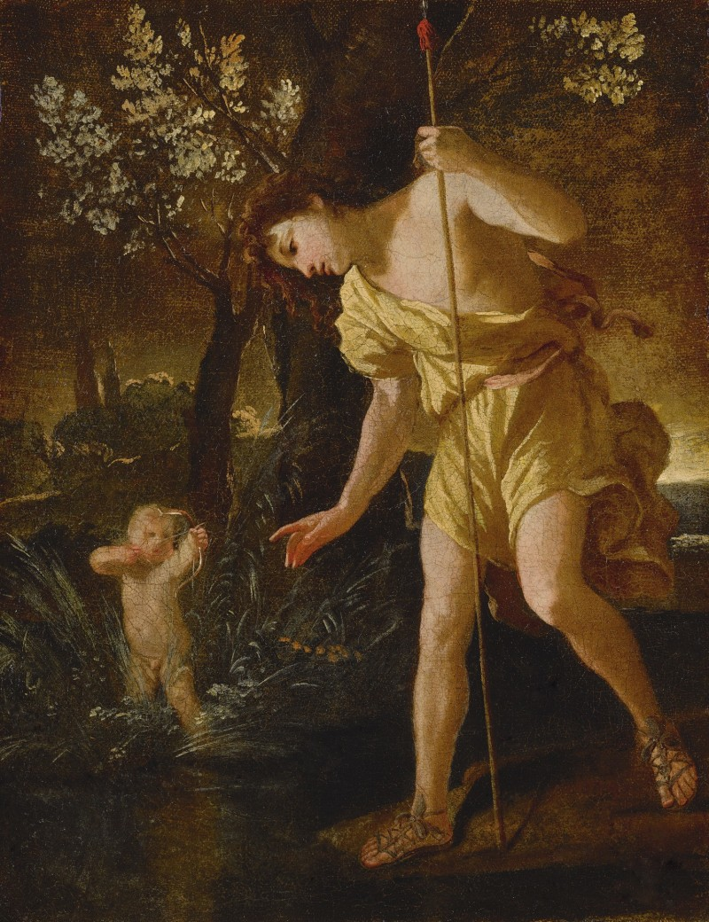 NICOLAS POUSSIN (Les Andelys, Normandy 1594 - 1665 Rome) - NARCISSUS GAZING AT HIS REFLECTION AND CUPID SHOOTING AN ARROW, IN A LANDSCAPE