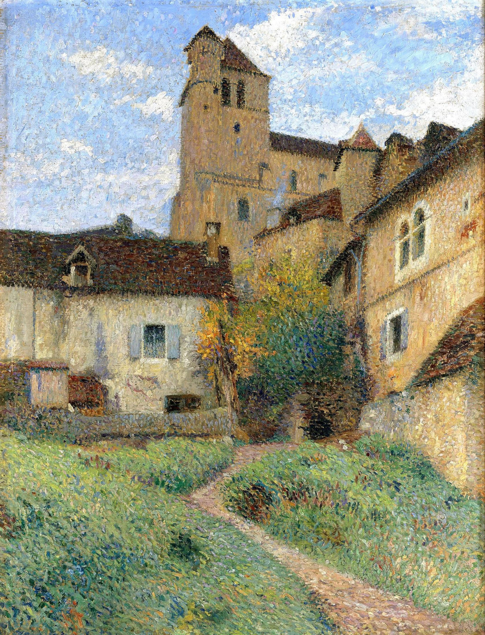 Henri Martin (1860-1943) - L'église de Saint Cirq Lapopie