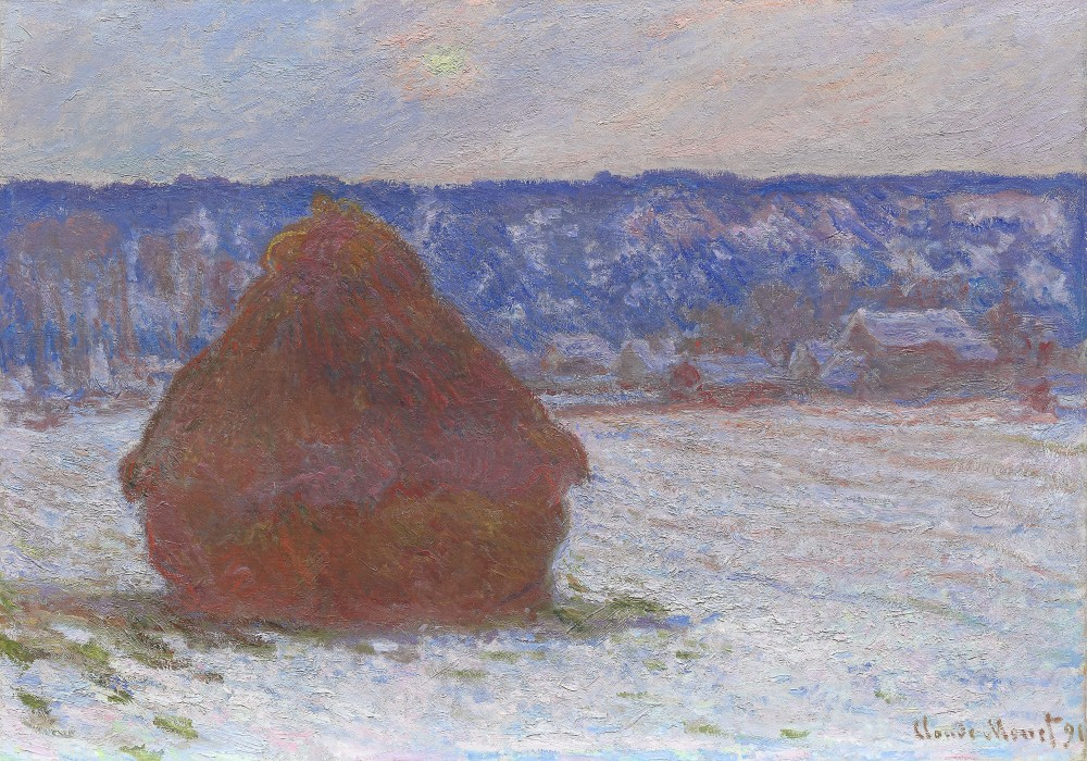 Stack of Wheat (Snow Effect, Overcast Day), 1890/91  - Claude Monet