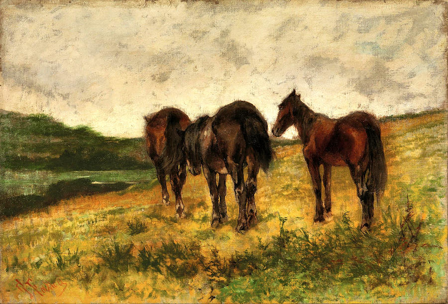 Three Horses At Pasture by Giovanni Fattori