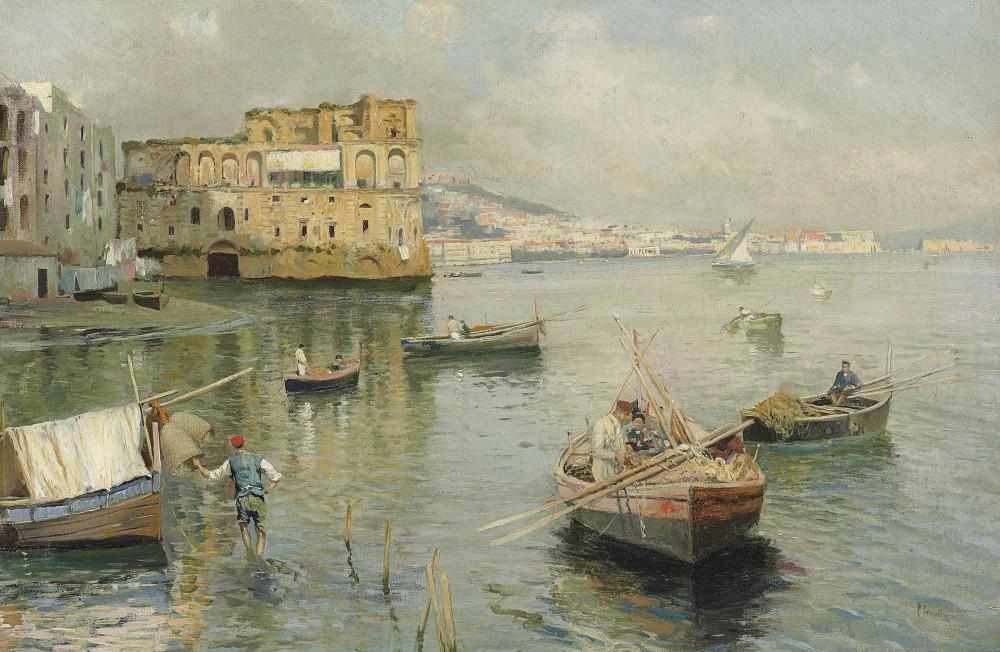 Attilio Pratella (Italian, 1856-1949) - Palazzo donn'Anna (Кристис)