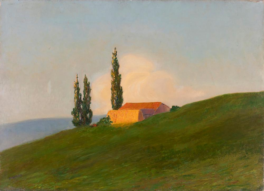 Emilio Sobrero (1890-1964) - Sunset - Farmhouse with trees, 1910