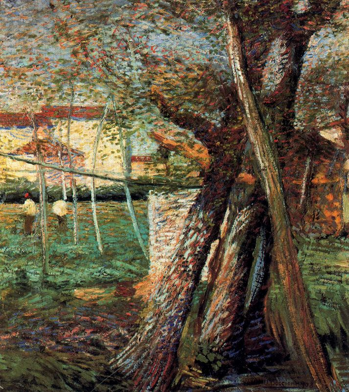 Umberto Boccioni (Умберто Боччони) - Countryside with Trees , 1908