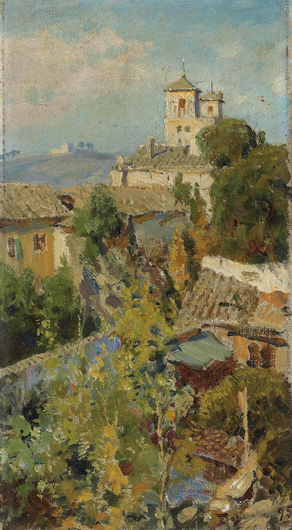 Vasilii Polenov (1844-1927) From the window of the flat in Rome / Василий Поленов (1844-1927) Из окна квартиры в Риме