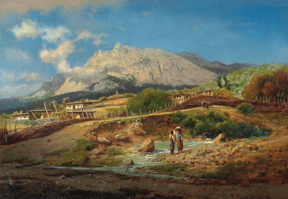 Aleksandr Kiselev (1838-1911) By a mountain spring on Ai-Petri / Александр Киселев (1838-1911) У горного источника на Ай-Петри