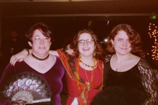 Pat W, Tina, and Nin at Bridging the Knight, Oct. 1996