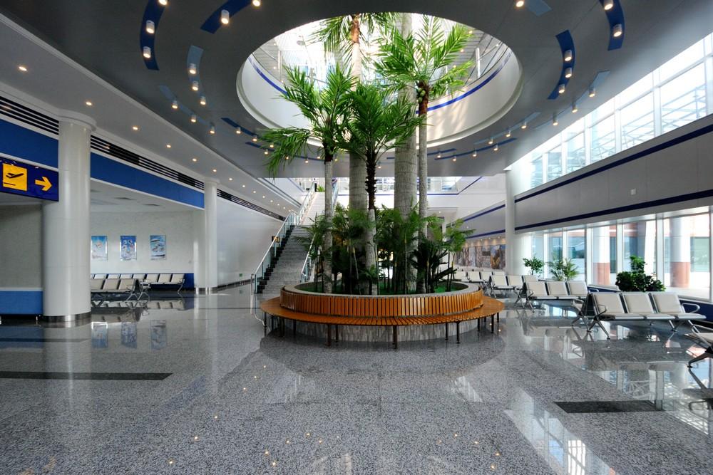 Зал ожидания в аэропорту Вонсан Калма. Пальмы
