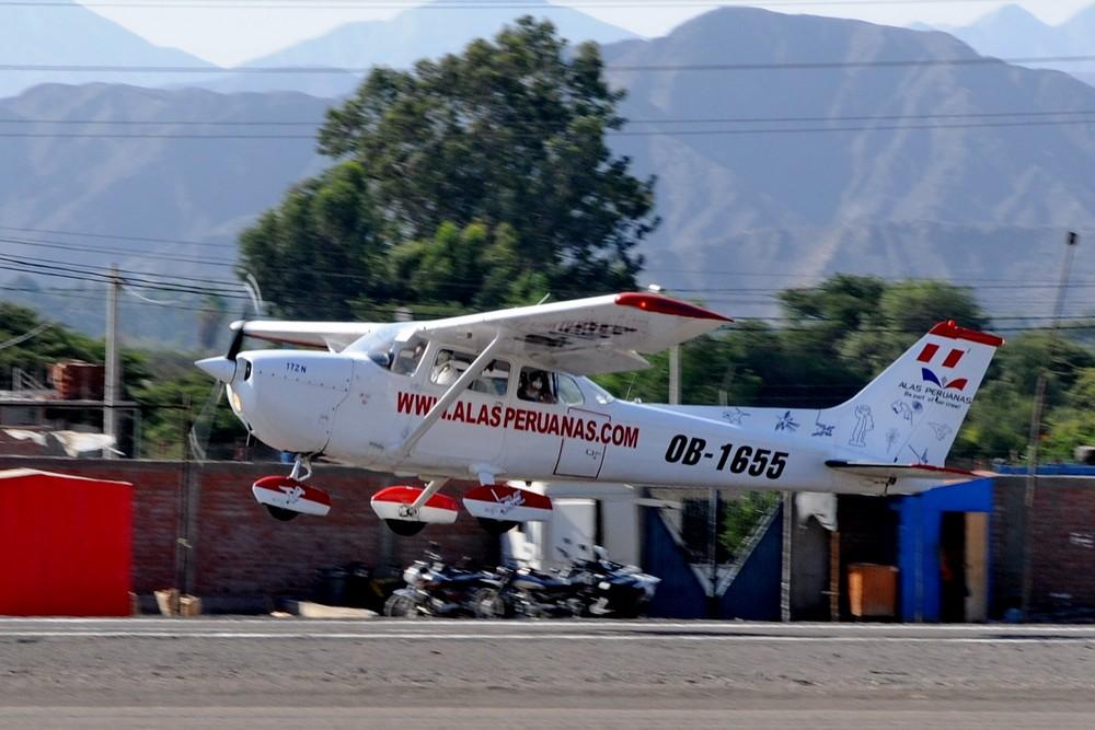 Цессна-172 компании Alas Peruanas. Взлет в аэропорту Наска. Экскурсия линии Наска с высоты птичьего полета