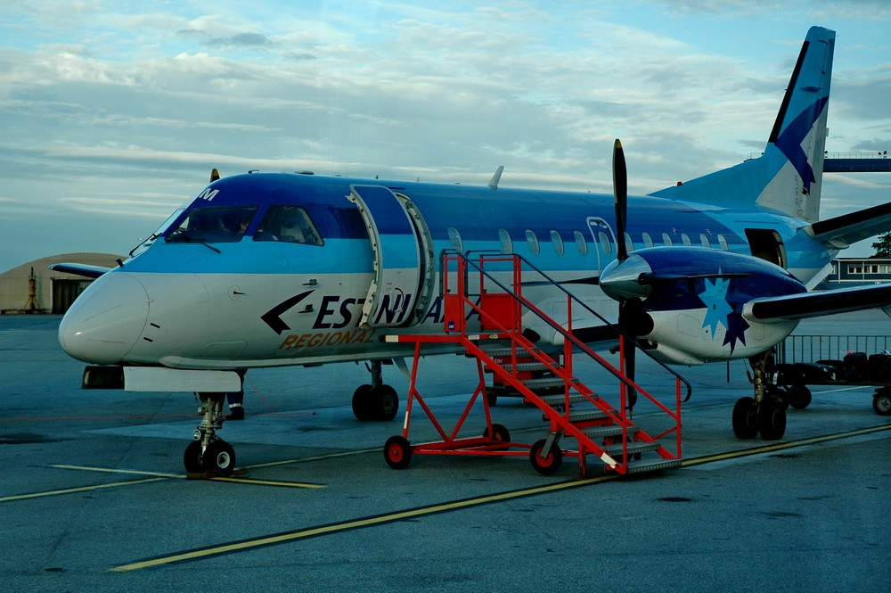 Saab-340 Estonian Air в аэропорту Стокгольма