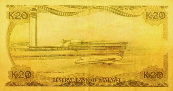 Банкноты с изображением самолетов. Малави 20 квача 1964