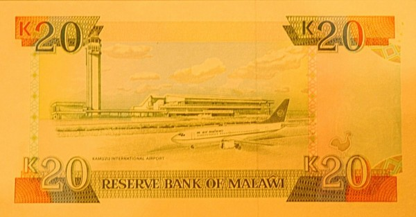 Банкноты с изображением самолетов. Малави 20 квача 1993