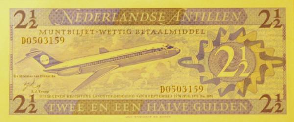 Банкноты с изображением самолетов. Нидерландские Антильские острова 2,5 гульдена 1970