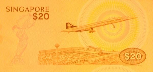 Банкноты с изображением самолетов. Сингапур 20 долларов 1979