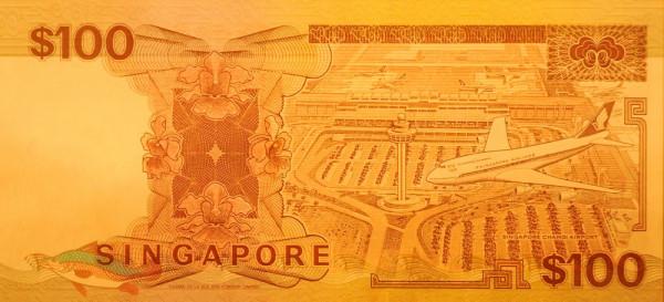 Банкноты с изображением самолетов. Сингапур 100 долларов 1995