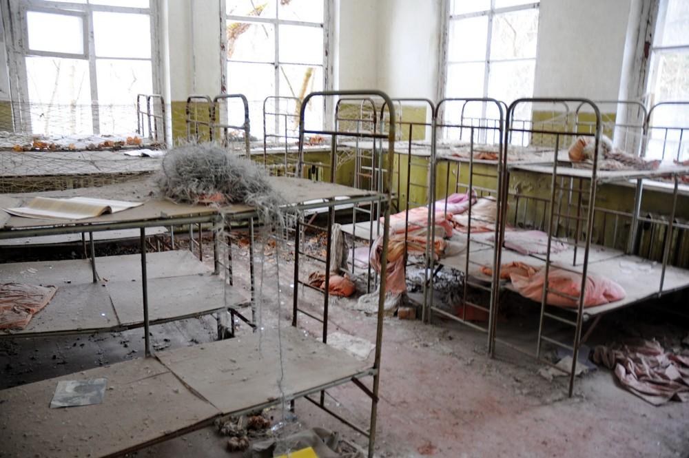 Кровати в детском саду в селе Копачи