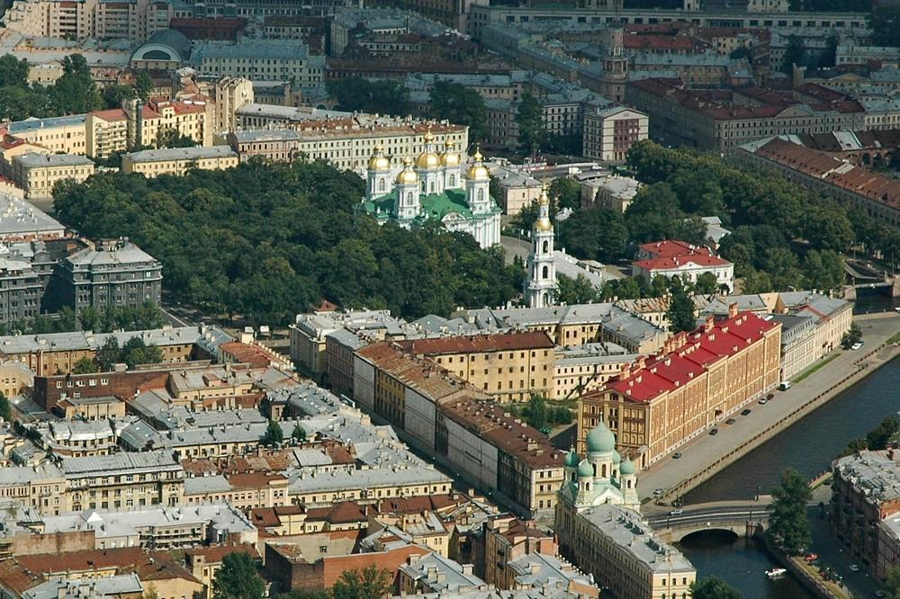 Никольский собор в Петербурге. Вид с вертолета