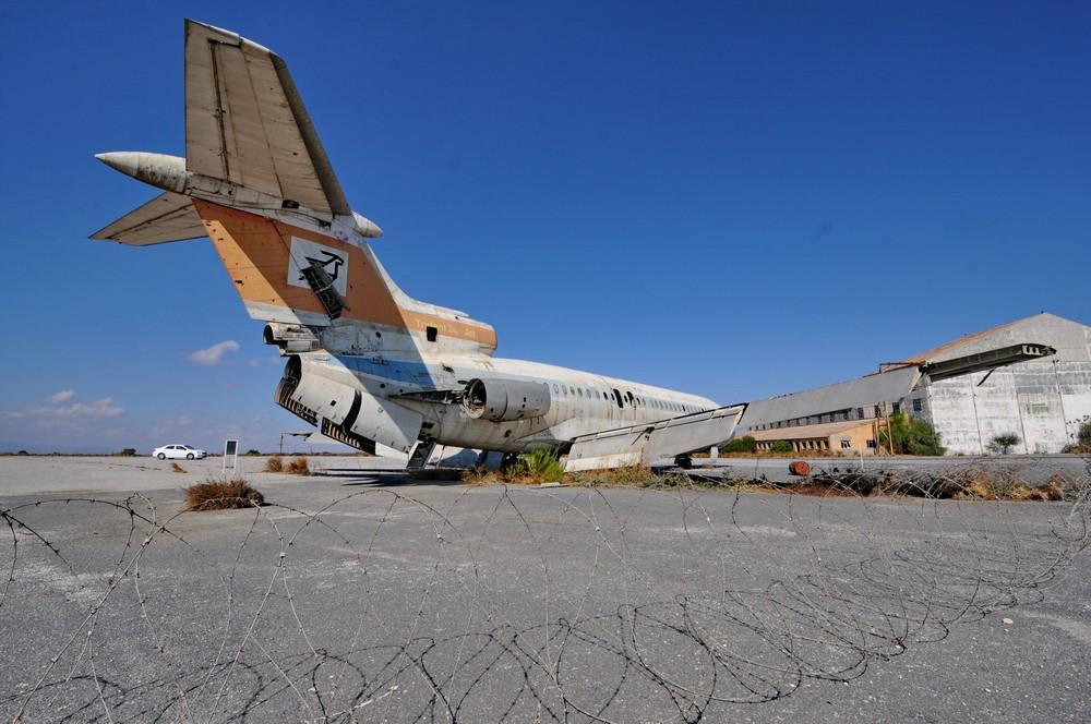 Аэропорт Никосия. Самолет Hawker Siddeley HS-121 Trident в раскраске Cyprus Airways