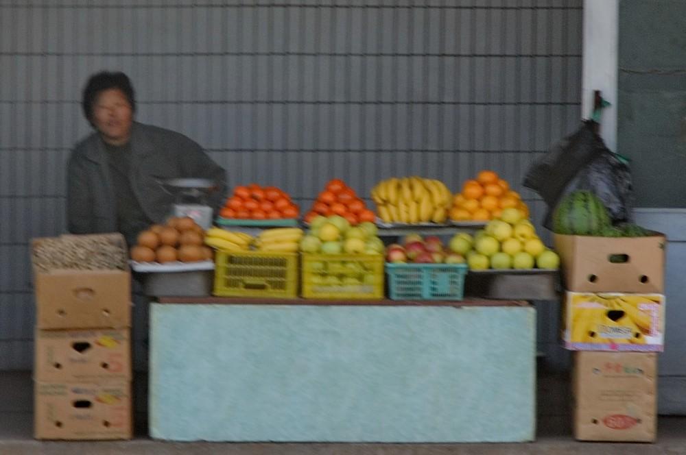 Овощной лоток в Пхеньяне