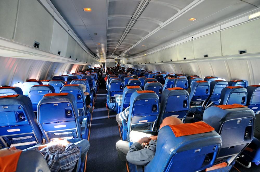 Салон эконом-класса Ил-96-300 авиакомпании Аэрофлот