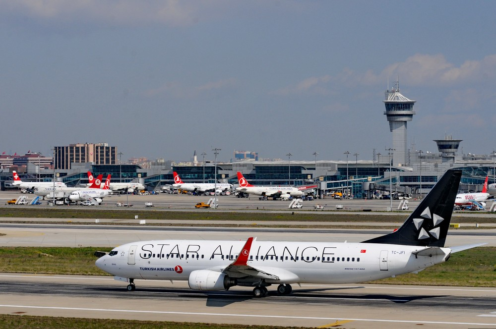 Боинг-737 Turkish Airlines в раскраске Star Alliance