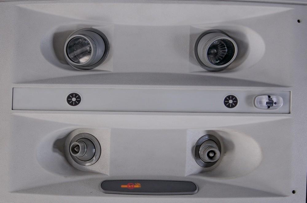 Пассажирская панель в самолете Боинг-717 авиакомпании Blue1