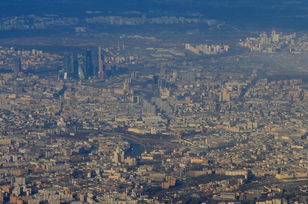 Панорама Москвы с самолета