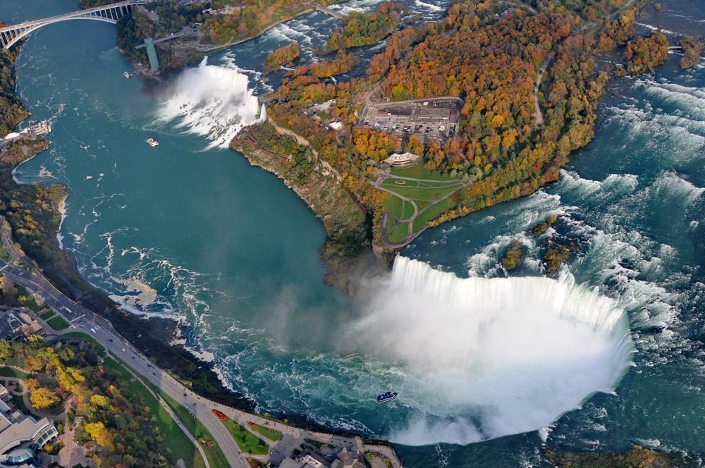 Ниагарский водопад. Панорама с вертолета