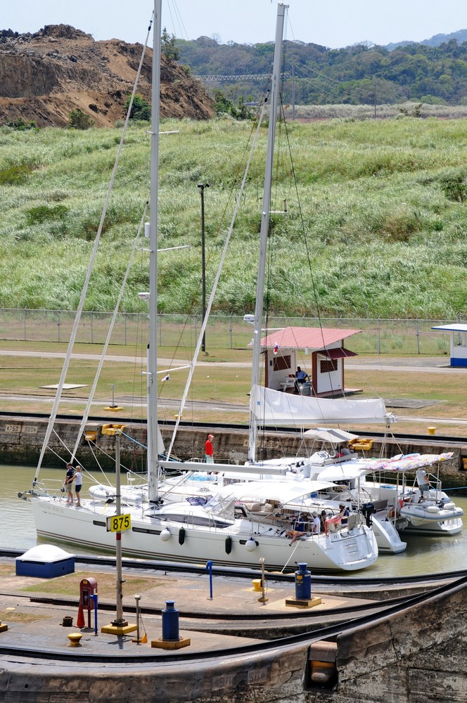 Sailboats cross the Panama Canal