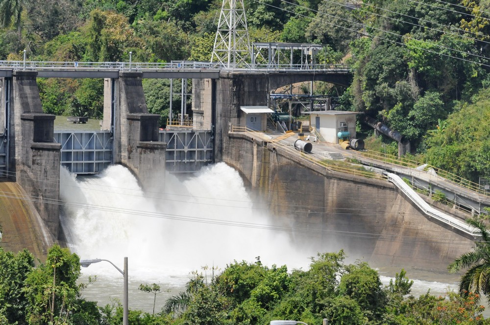 Panama Canal.  Miraflores Locks.  Water release