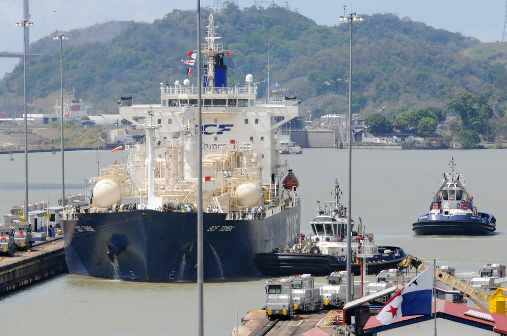 The vessel SCF Tomsk comes to Miraflores Locks of the Panama Canal