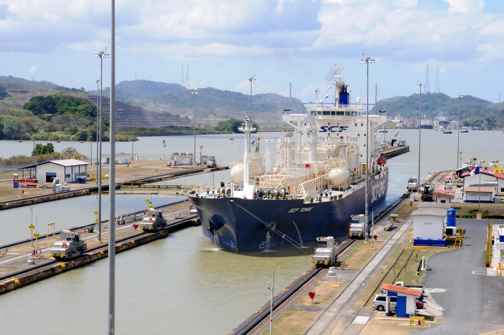 The vessel SCF Tomsk passes gateway Mirafores, the Panama Canal