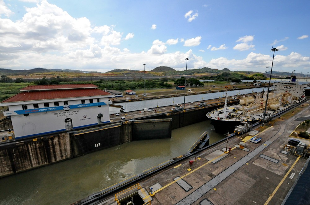 The opening of the gateway of the Panama Canal in Miraflores