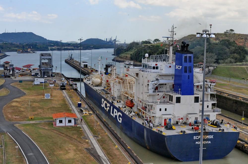The vessel SCF Tomsk leaves Panama Canal