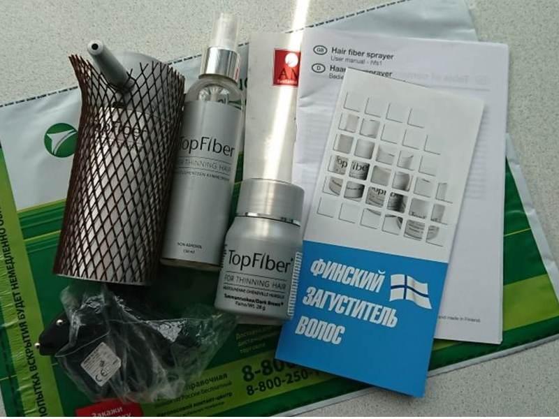 Стартовый набор TopFiber: кератиновый загуститель волос, лак-фиксатор, электронный аппликатор, зарядка, брошюра с инструкцией на английском языке и рекламный буклетик.