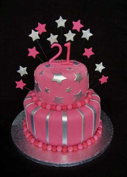21st pink cake