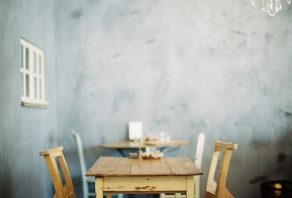 Chairs, table and a wall