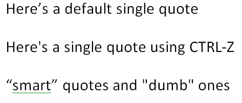 Smart/Curly Quotes and Dumb Quotes