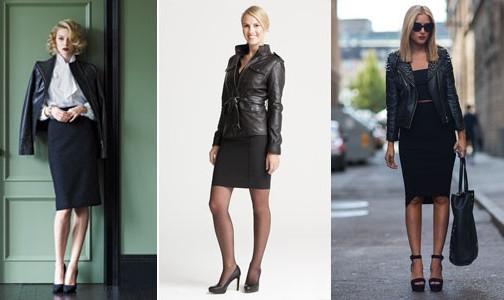 С какой юбкой носить кожаную куртку фото